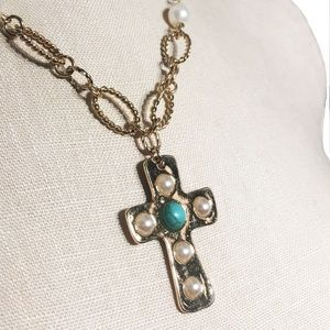Jewelry - Gold and Pearl Beaded Cross Pendant Necklace
